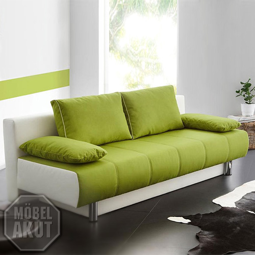 schlafsofa santorin sofa funktionssofa mit bettkasten in gr n wei neu ebay. Black Bedroom Furniture Sets. Home Design Ideas