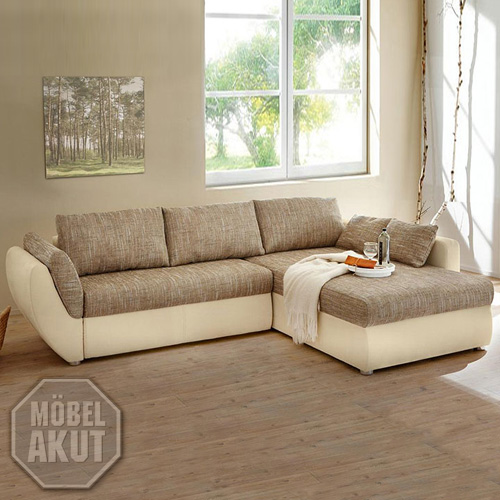 wohnlandschaft taifun sofa ecksofa in hell braun beige mit bettfunktion ebay. Black Bedroom Furniture Sets. Home Design Ideas