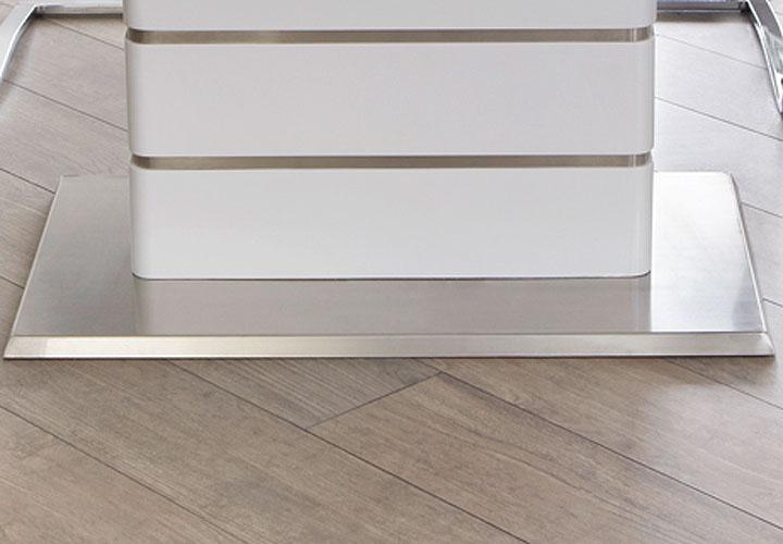 esstisch alando tisch ausziehbar in wei hochglanz edelstahl 160 200x90 cm. Black Bedroom Furniture Sets. Home Design Ideas