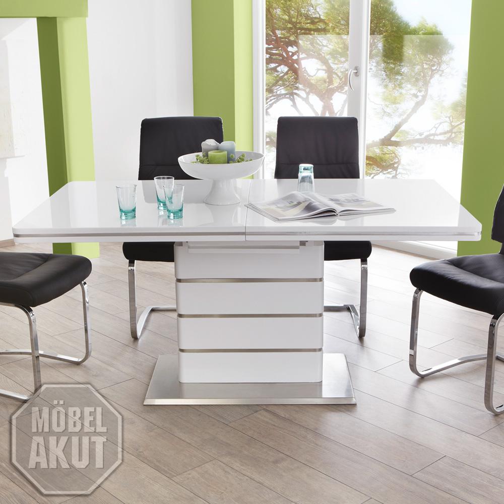 esstisch alando tisch wei hochglanz edelstahl ausziehbar 160 200x90 ebay. Black Bedroom Furniture Sets. Home Design Ideas