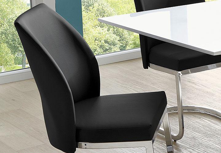 schwingstuhl 4er set esszimmer freischwinger pablo schwarz gestell chrom eur 139 95 picclick de. Black Bedroom Furniture Sets. Home Design Ideas