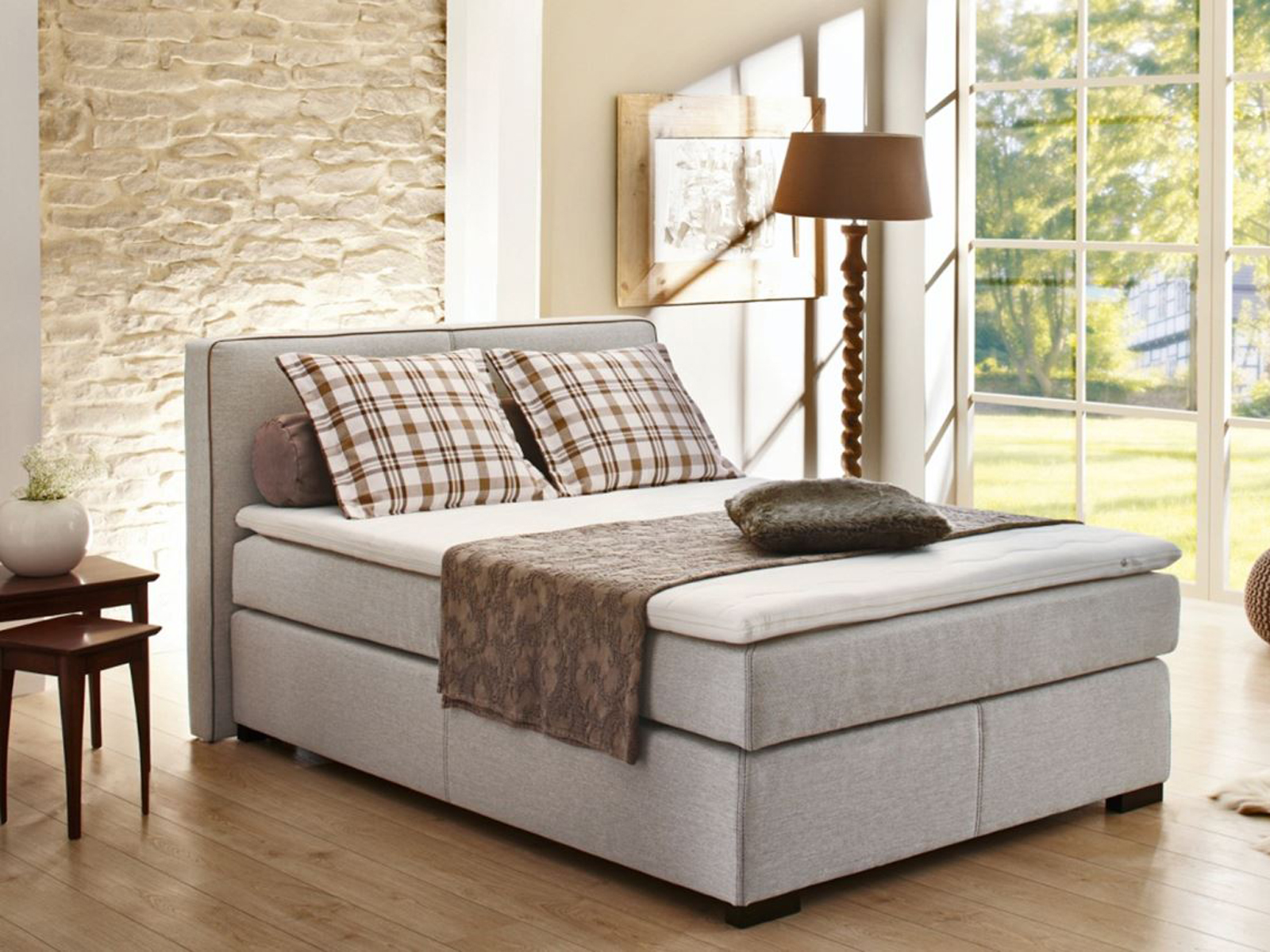 boxspring bett romantica doppelbett hotelbett lava und beige inkl topper 140x200 ebay. Black Bedroom Furniture Sets. Home Design Ideas