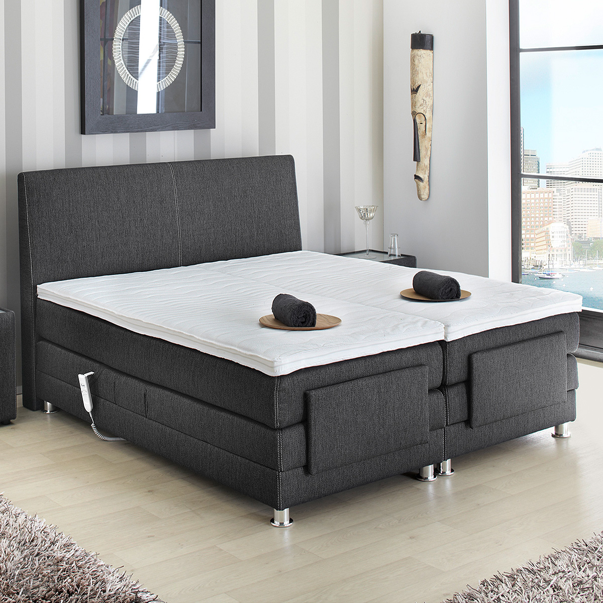 boxspring bett raffinetto doppelbett hotelbett schwarz motorisiert inkl topper ebay. Black Bedroom Furniture Sets. Home Design Ideas