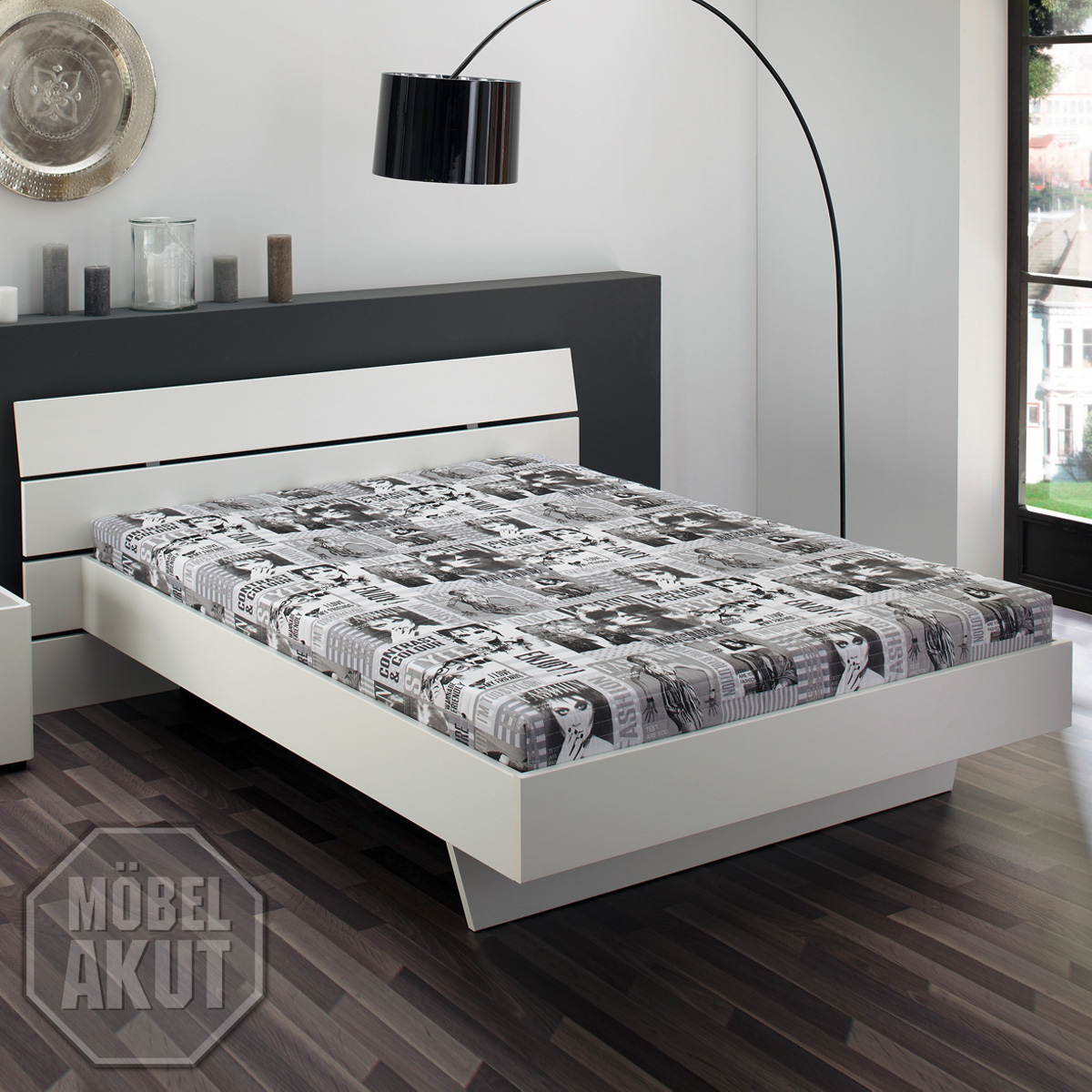 futonbett flyer bett einzelbett in wei inkl rollrost und. Black Bedroom Furniture Sets. Home Design Ideas