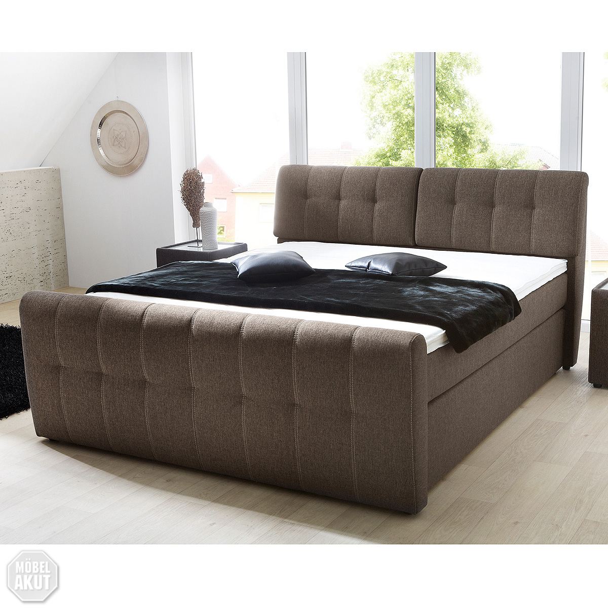 boxspring bett belcanto doppelbett braun verstellbares kopfteil topper 180x200 ebay. Black Bedroom Furniture Sets. Home Design Ideas
