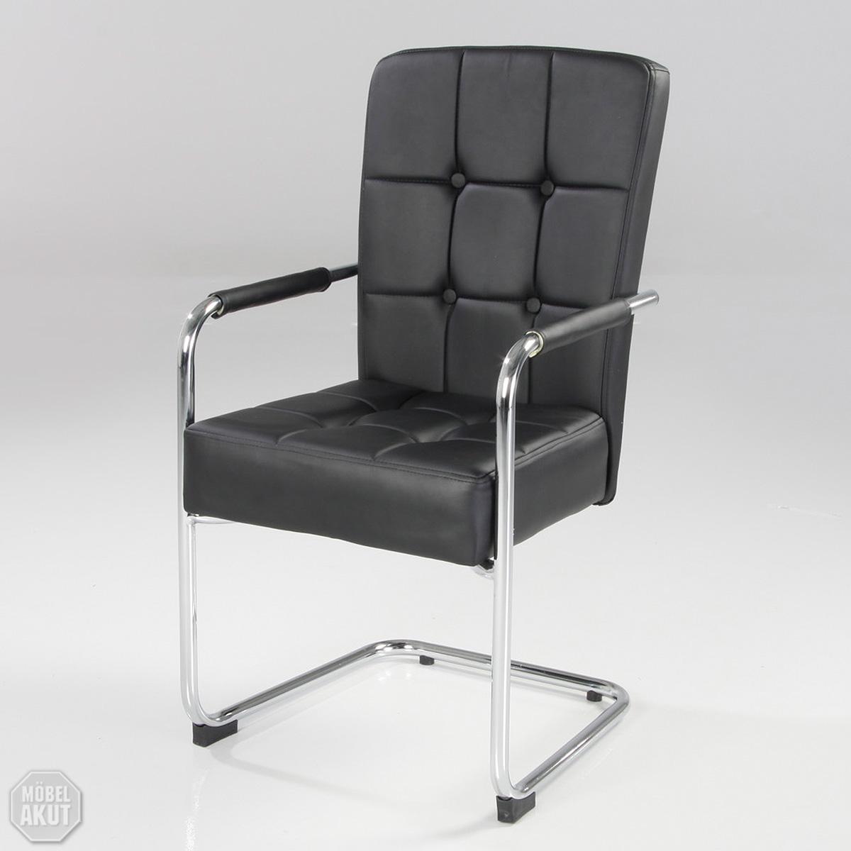 4er set schwingstuhl oliver mit armlehne stuhl lederlook for Stuhl mit armlehne schwarz