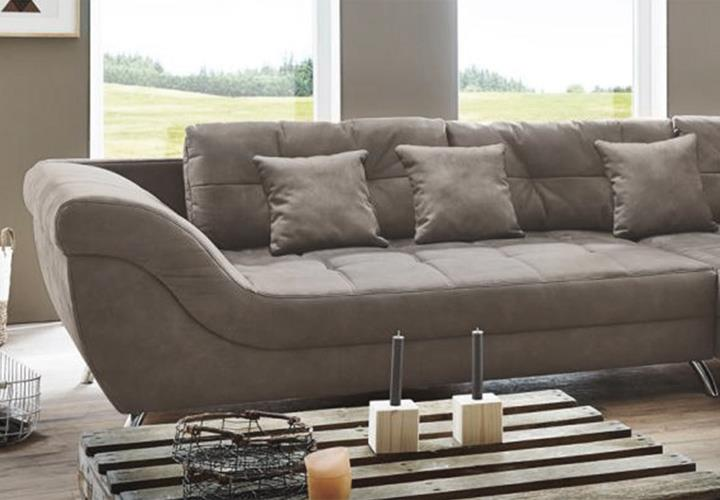 wohnlandschaft santa cruz wohnzimmer ecksofa in nubukoptik grau braun mit kissen eur. Black Bedroom Furniture Sets. Home Design Ideas
