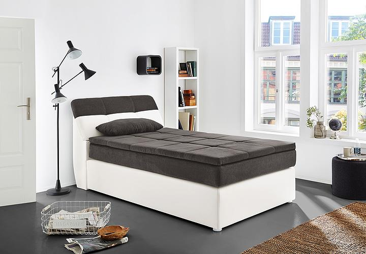 boxspringbett odessa schlafzimmerbett bett in wei grau mit topper 120x200 ebay. Black Bedroom Furniture Sets. Home Design Ideas