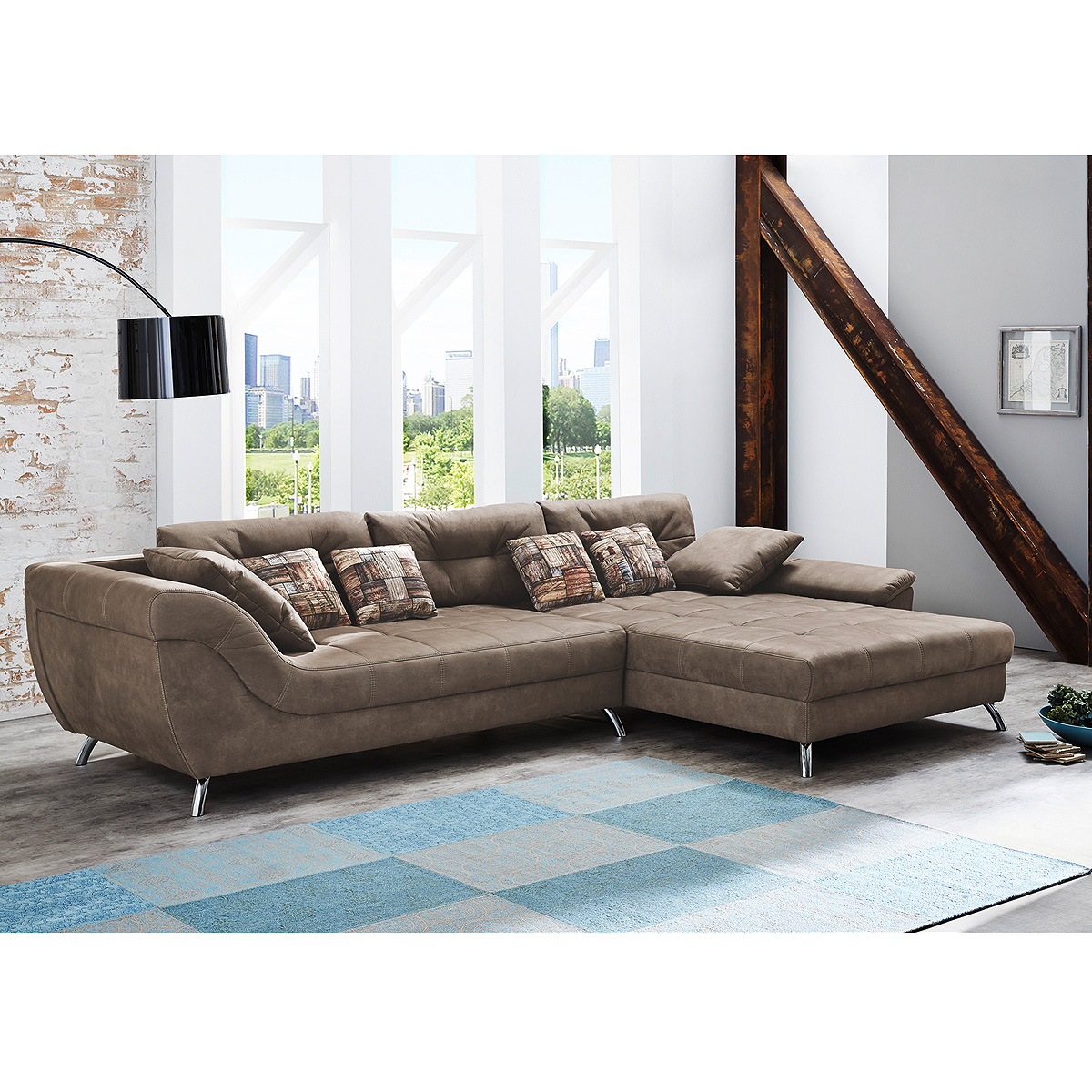 wohnlandschaft san francisco sofa l sofa ecksofa mit polsterung in antikbraun ebay. Black Bedroom Furniture Sets. Home Design Ideas