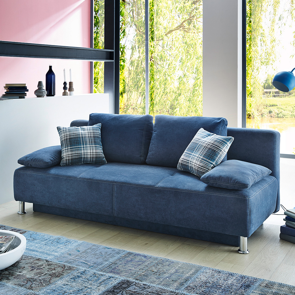funktionssofa kairo schlafsofa sofa verwandlungssofa in blau mit hebebeschlag ebay. Black Bedroom Furniture Sets. Home Design Ideas