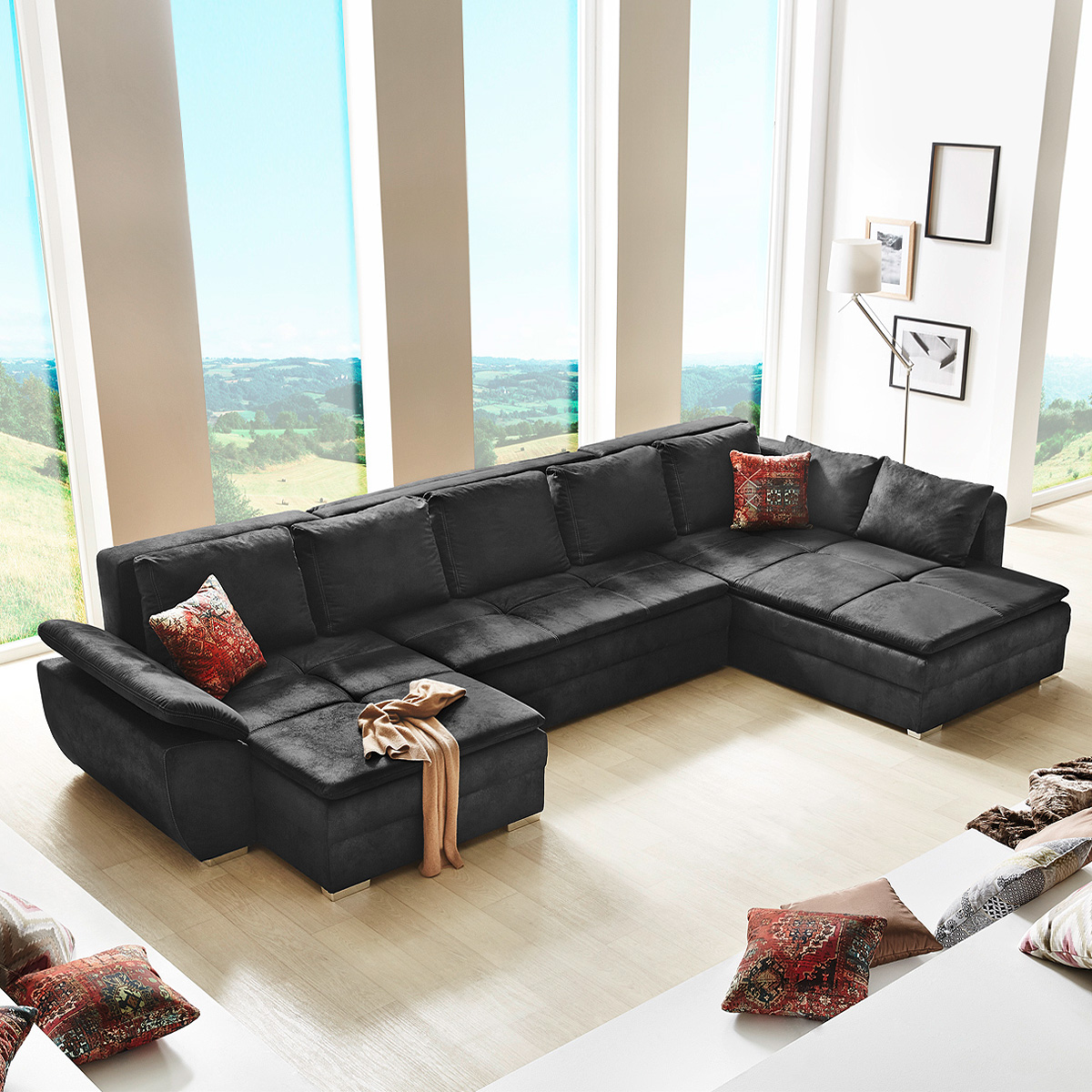 wohnlandschaft saragossa sofa ecksofa in schwarz. Black Bedroom Furniture Sets. Home Design Ideas