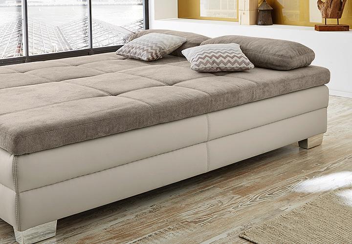 funktionssofa lincoln schlafsofa sofa dauerschl fer in greige mit topper ebay. Black Bedroom Furniture Sets. Home Design Ideas