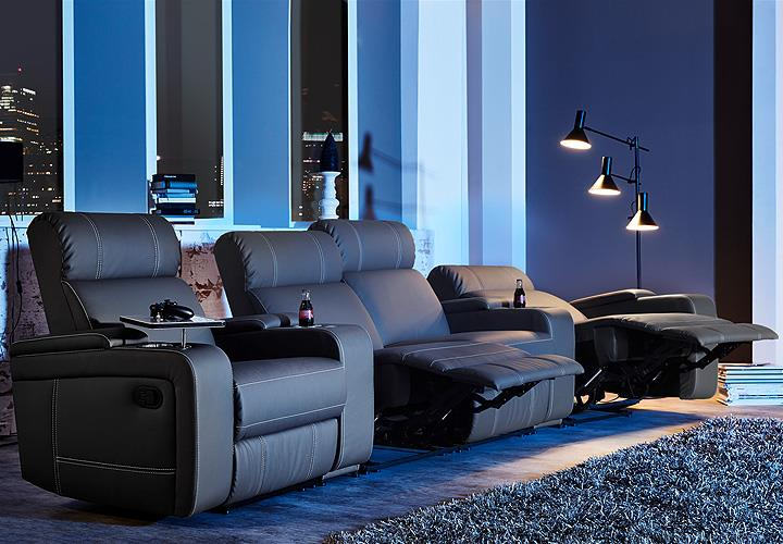 cinema sessel hollywood 4er kinosessel kinosofa sofa schwarz getr nkehalter eur. Black Bedroom Furniture Sets. Home Design Ideas