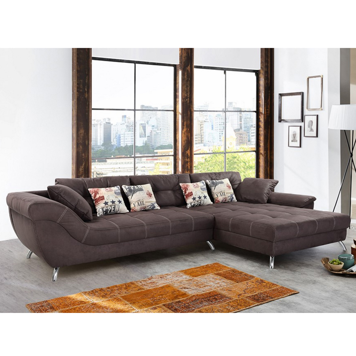 wohnlandschaft san francisco sofa ecksofa dunkelbraun mit kaltschaum polsterung ebay. Black Bedroom Furniture Sets. Home Design Ideas