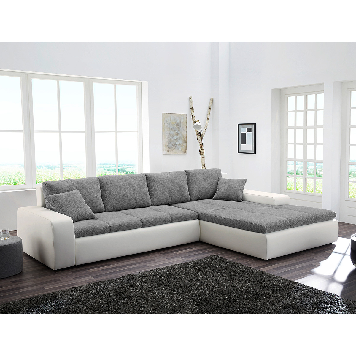 wohnlandschaft aurich ecksofa sofa in wei und grau mit bettfunktion ebay. Black Bedroom Furniture Sets. Home Design Ideas