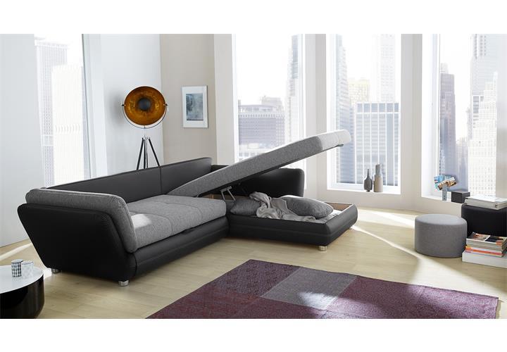 Wohnlandschaft java sofa ecksofa in schwarz und grau mit for Wohnlandschaft java