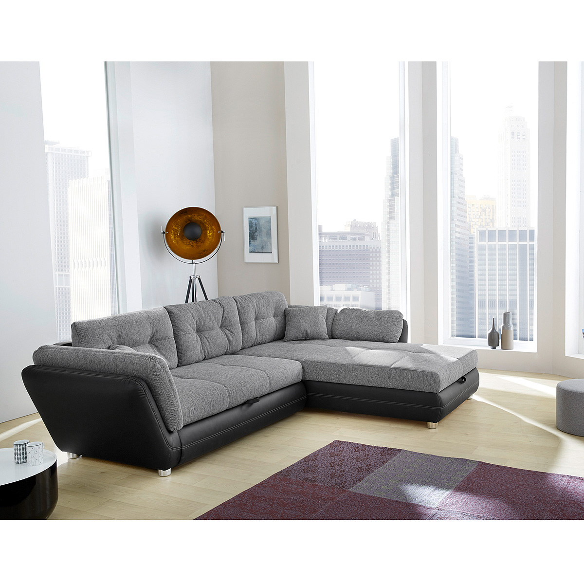wohnlandschaft java sofa ecksofa in schwarz und grau mit bettfunktion ebay. Black Bedroom Furniture Sets. Home Design Ideas