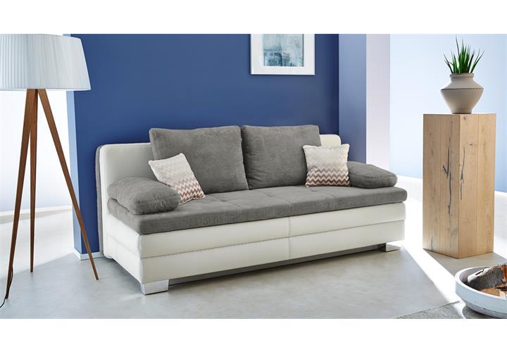 funktionssofa lincoln schlafsofa sofa dauerschl fer wei microfaser grau topper ebay. Black Bedroom Furniture Sets. Home Design Ideas