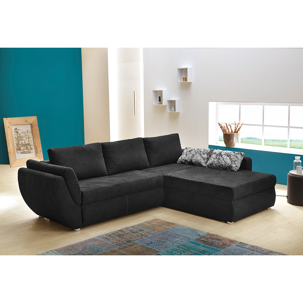 wohnlandschaft taifun sofa ecksofa in schwarz mit bettfunktion und kissen ebay. Black Bedroom Furniture Sets. Home Design Ideas