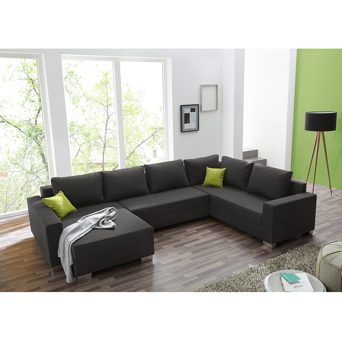 wohnlandschaft abby sofa ecksofa in schwarz wei grau. Black Bedroom Furniture Sets. Home Design Ideas
