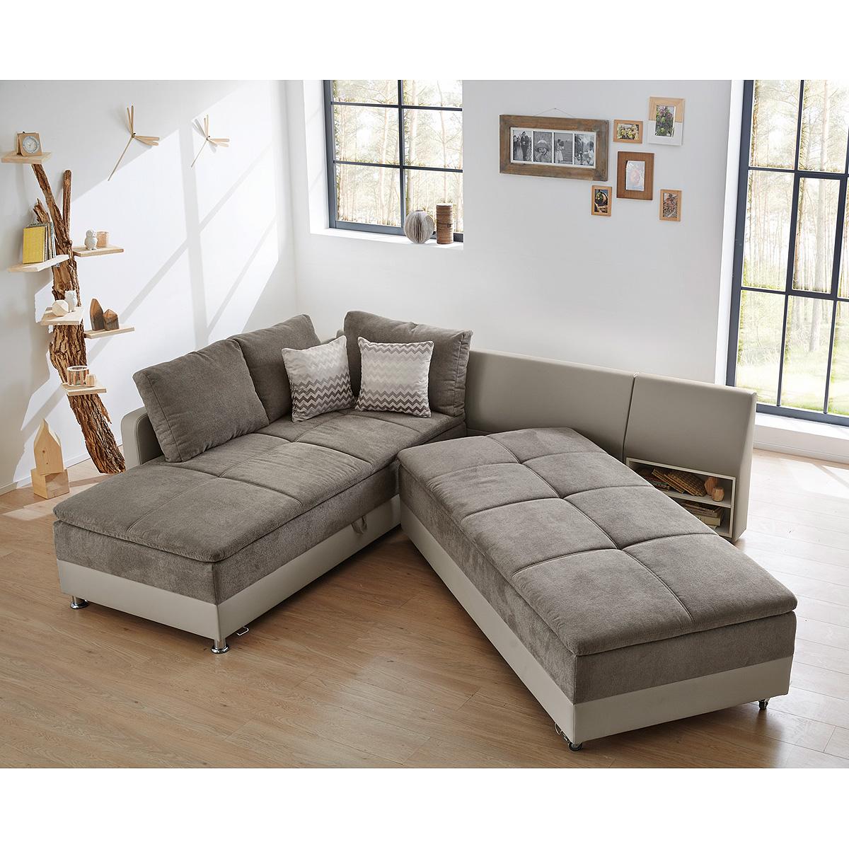 Wohnlandschaft modena sofa ecksofa bett nako greige grau for Bett mit couch