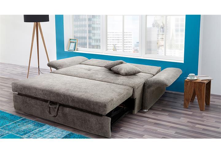 funktionssofa luca sofa f r dauerschl fer in greige mit bettfunktion 140 cm ebay. Black Bedroom Furniture Sets. Home Design Ideas