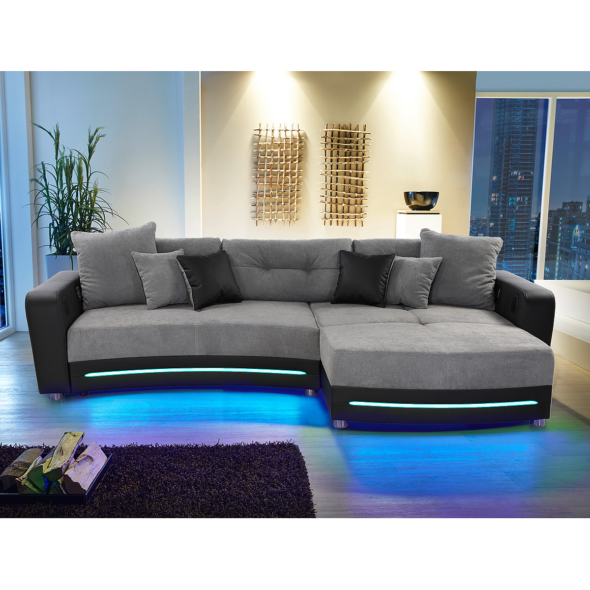 laredo sofa laredo sofa schwarz mit led und soundsystem. Black Bedroom Furniture Sets. Home Design Ideas