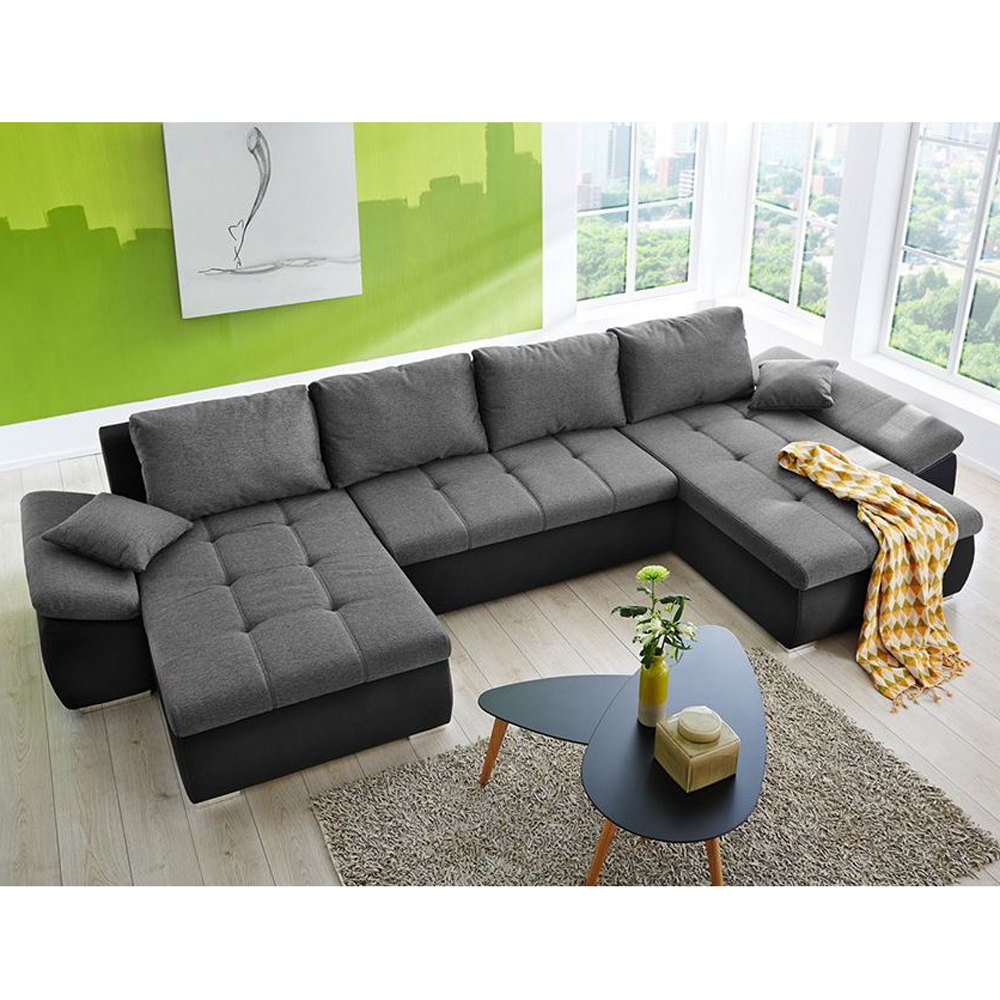 wohnlandschaft torino sofa in u form schwarz anthrazit 400x179 cm. Black Bedroom Furniture Sets. Home Design Ideas