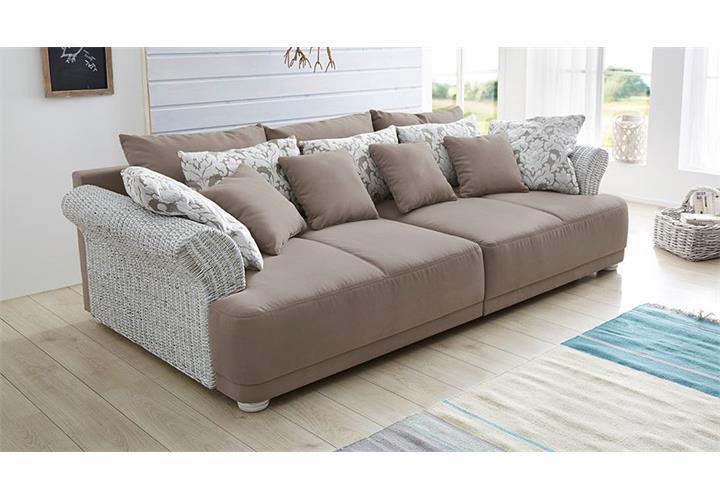 sofa savenna in vintage wei und greige rattan landhausstil polsterm bel ebay. Black Bedroom Furniture Sets. Home Design Ideas