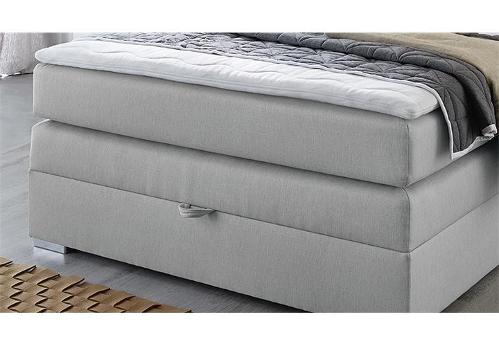 boxspringbett amelie 140 in hellgrau mit bettkasten topper bett bonell federkern ebay. Black Bedroom Furniture Sets. Home Design Ideas