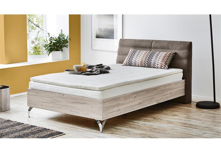 boxspringbett urbino 120x200 sandeiche und dicklederoptik hellbraun komfortbett ebay. Black Bedroom Furniture Sets. Home Design Ideas