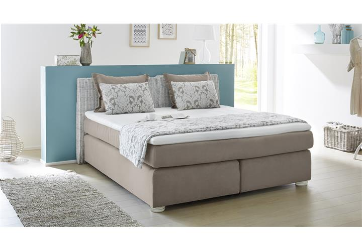 boxspringbett celia 180x200 bett greige komfortbett rattan bett mit visco topper ebay. Black Bedroom Furniture Sets. Home Design Ideas
