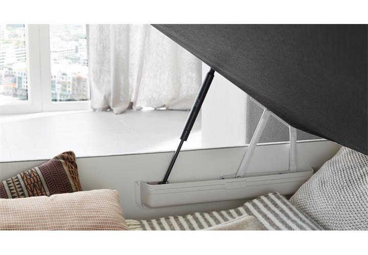 boxspringbett amelie 140 in graublau mit bettkasten topper bett bonell federkern eur 598 95. Black Bedroom Furniture Sets. Home Design Ideas