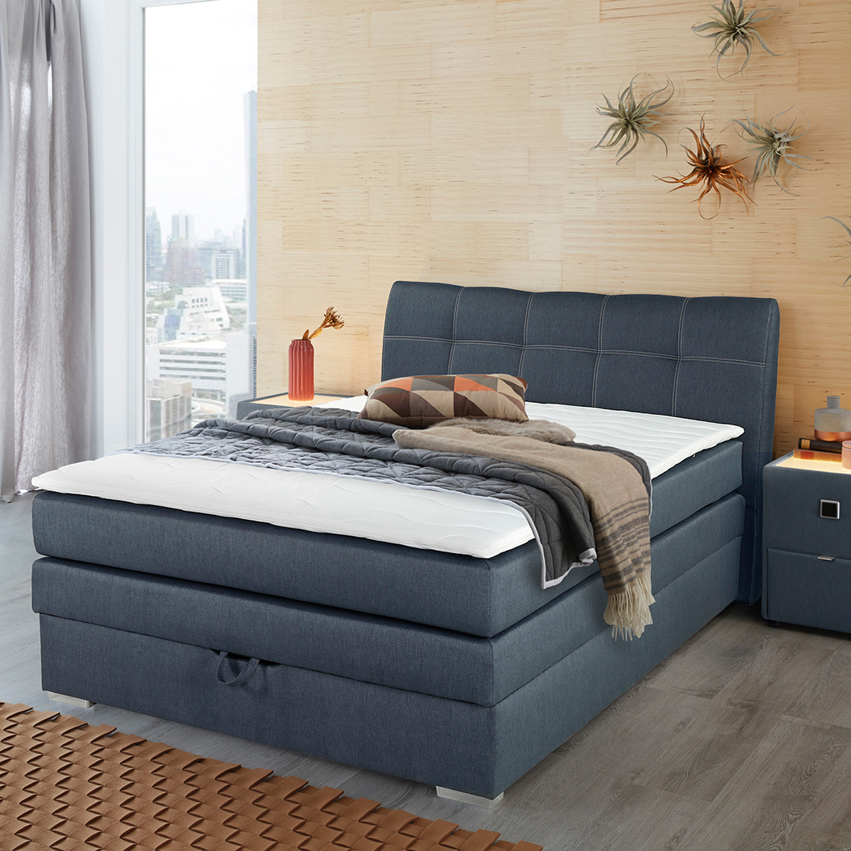 boxspringbett amelie 140 in graublau mit bettkasten topper. Black Bedroom Furniture Sets. Home Design Ideas