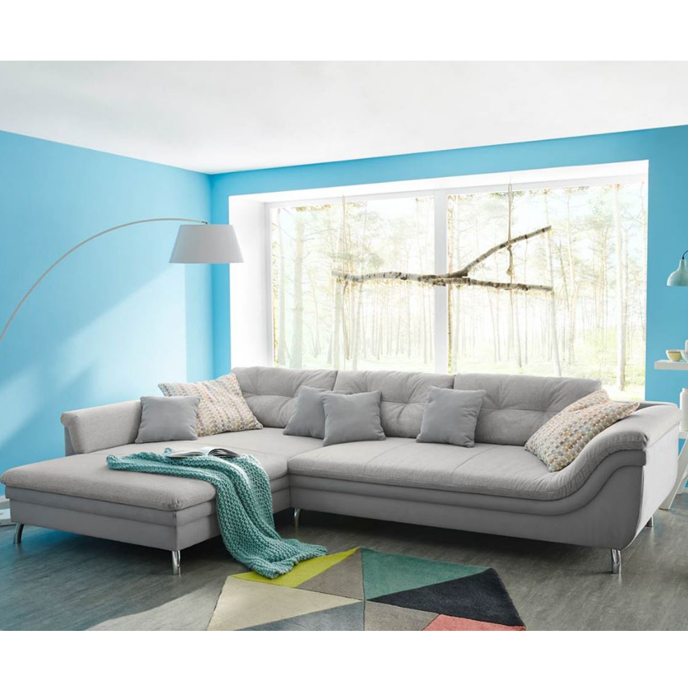 wohnlandschaft montreal grau meliert sofa ecksofa ottomane links ebay. Black Bedroom Furniture Sets. Home Design Ideas