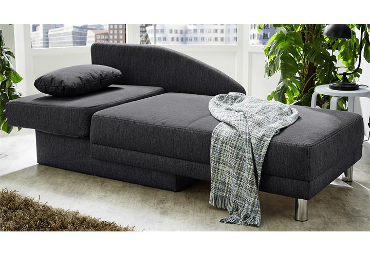 recamiere roy in stoff anthrazit relaxliege schlafsofa mit bettkasten wohnzimmer ebay. Black Bedroom Furniture Sets. Home Design Ideas