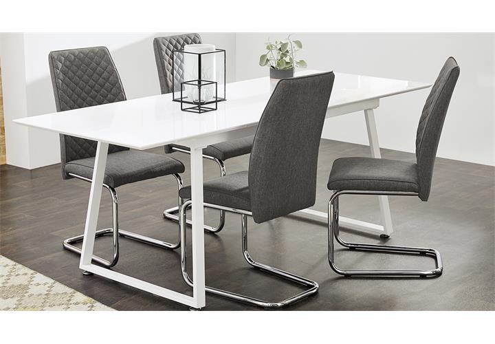 schwingstuhl 4er set benno stoff grau und chrom freischwinger esszimmerstuhl ebay. Black Bedroom Furniture Sets. Home Design Ideas