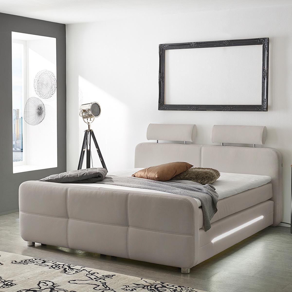 boxspringbett gina schwarz grau greige wei dunkelgrau mit. Black Bedroom Furniture Sets. Home Design Ideas