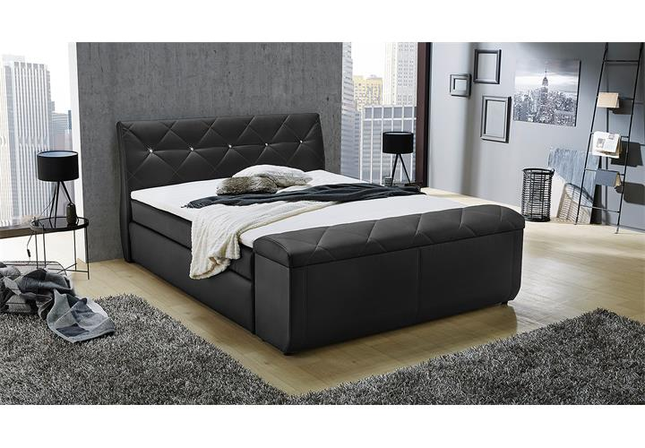 boxspringbett samantha bett f r schlafzimmer in schwarz mit topper 180x200 cm ebay. Black Bedroom Furniture Sets. Home Design Ideas
