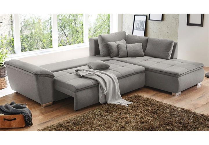Ecksofa cordoba sofa wohnlandschaft in grau nosagfeder for Wohnlandschaft schlaffunktion bettkasten