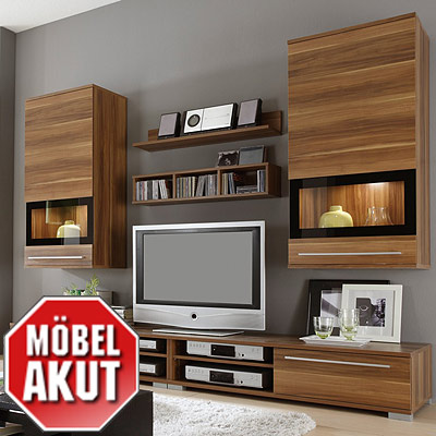 wohnwand lambo ii kern nussbaum lack schwarz ebay. Black Bedroom Furniture Sets. Home Design Ideas