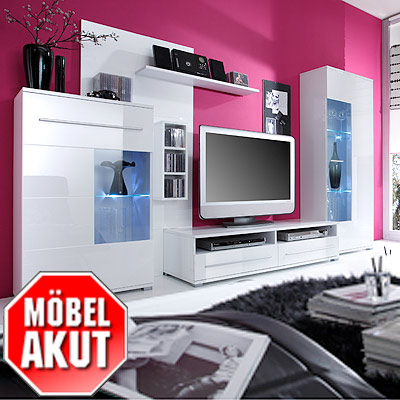 komplett wohnwand anbauwand hochglanz wei oder holzdekor 252x175x46 cm ebay. Black Bedroom Furniture Sets. Home Design Ideas