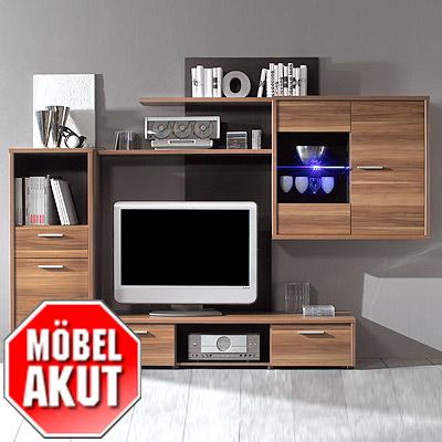 wohnwand air anbauwand kern nussbaum schwarz neu ebay. Black Bedroom Furniture Sets. Home Design Ideas