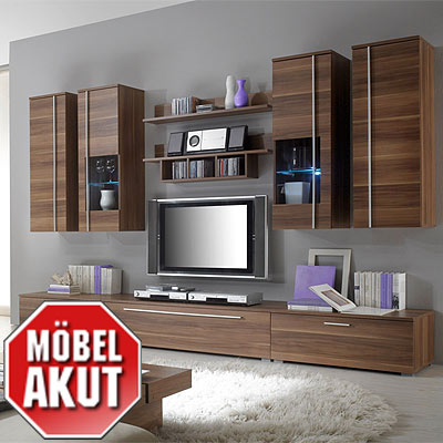 wohnwand lucio anbauwand in kern nussbaum neu eur 359 00 picclick de. Black Bedroom Furniture Sets. Home Design Ideas