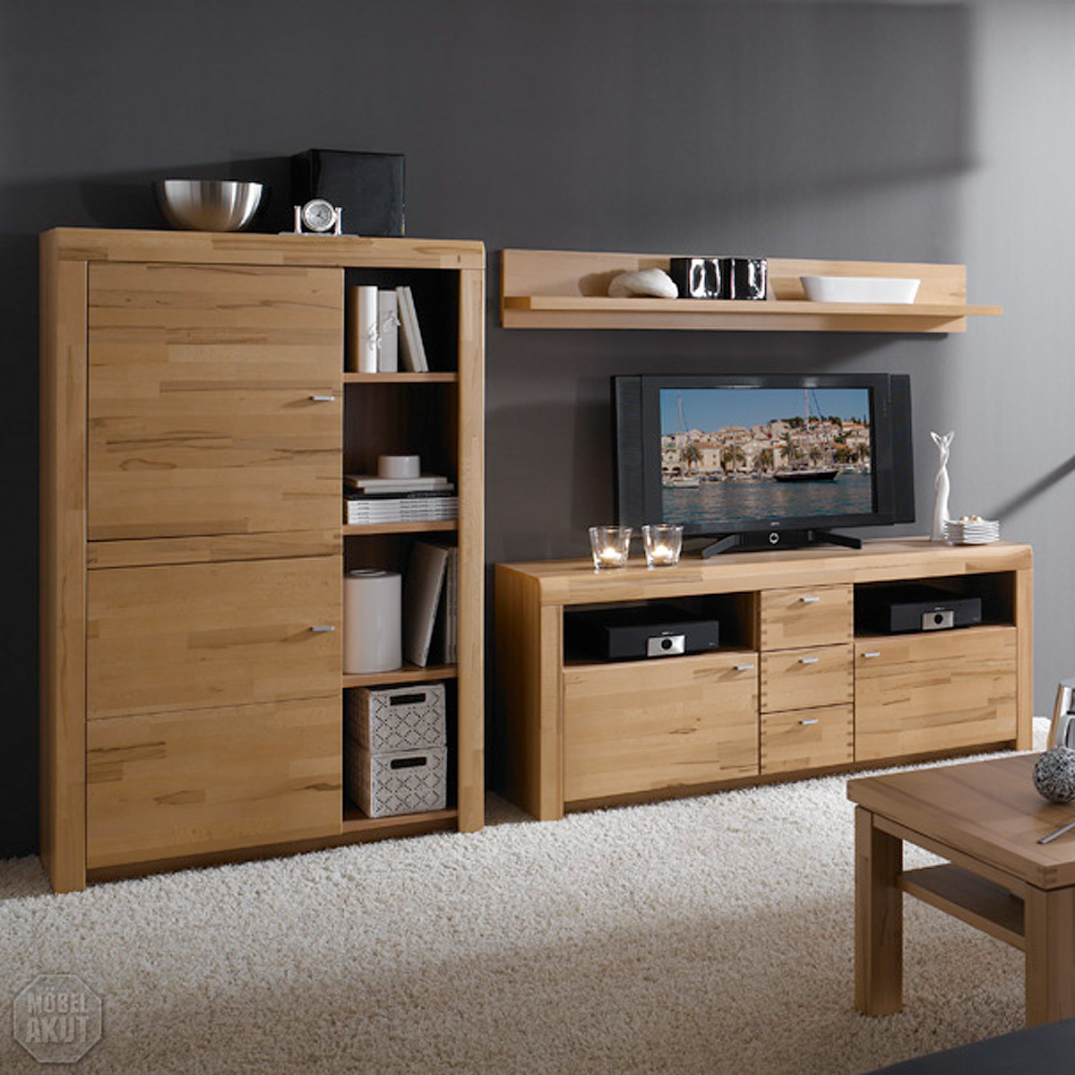 wohnwand diamo 1 anbauwand in kern buche massiv ebay. Black Bedroom Furniture Sets. Home Design Ideas