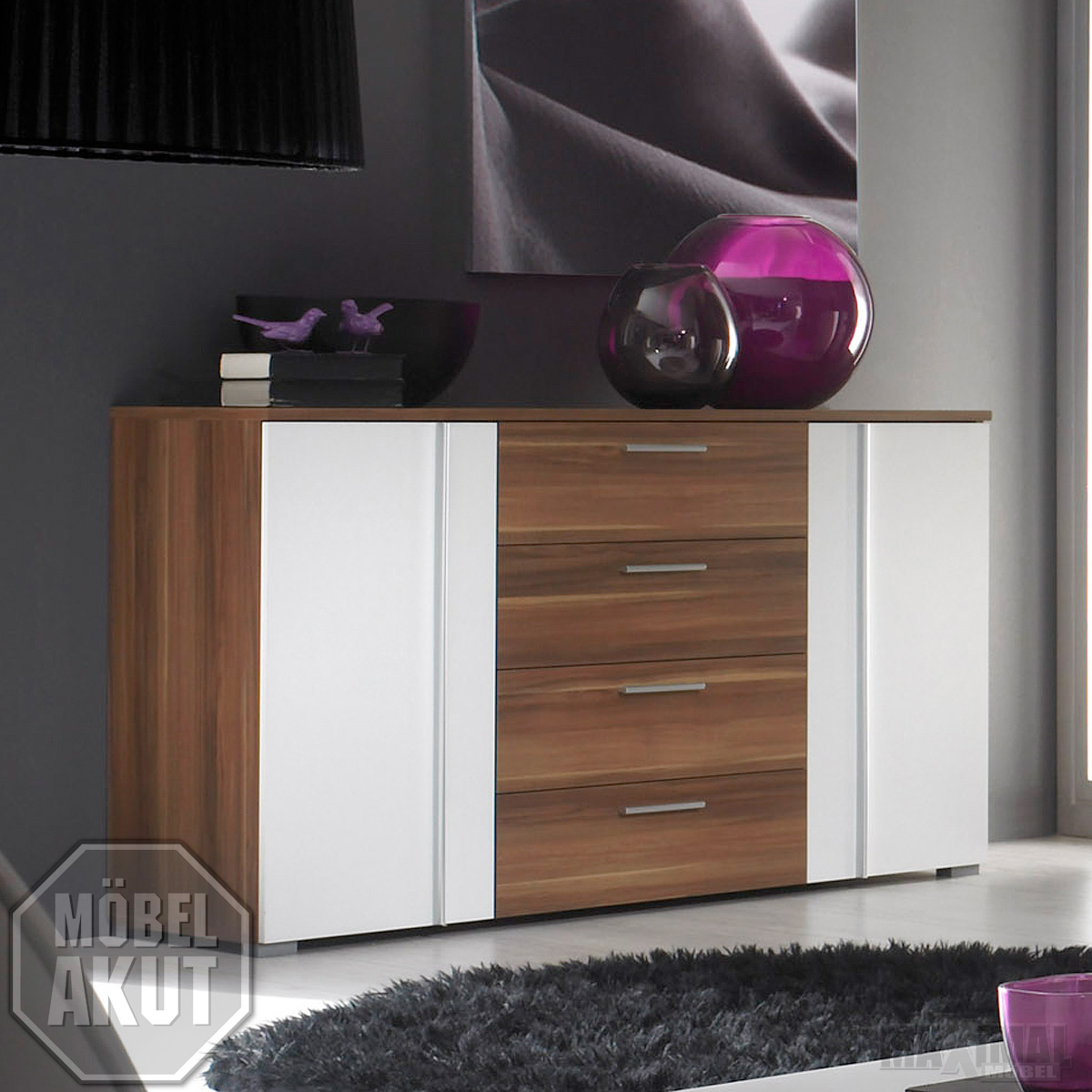 sideboard run kommode in kernnussbaum wei neu ebay. Black Bedroom Furniture Sets. Home Design Ideas