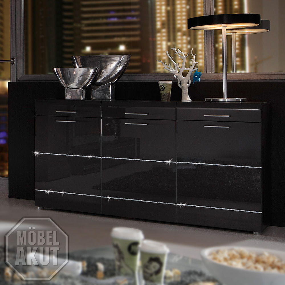 sideboard noya kommode in anthrazit hochglanz swarovski elements neu ebay. Black Bedroom Furniture Sets. Home Design Ideas