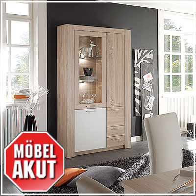 vitrine tablo schrank in sonoma eiche s gerau wei neu ebay. Black Bedroom Furniture Sets. Home Design Ideas