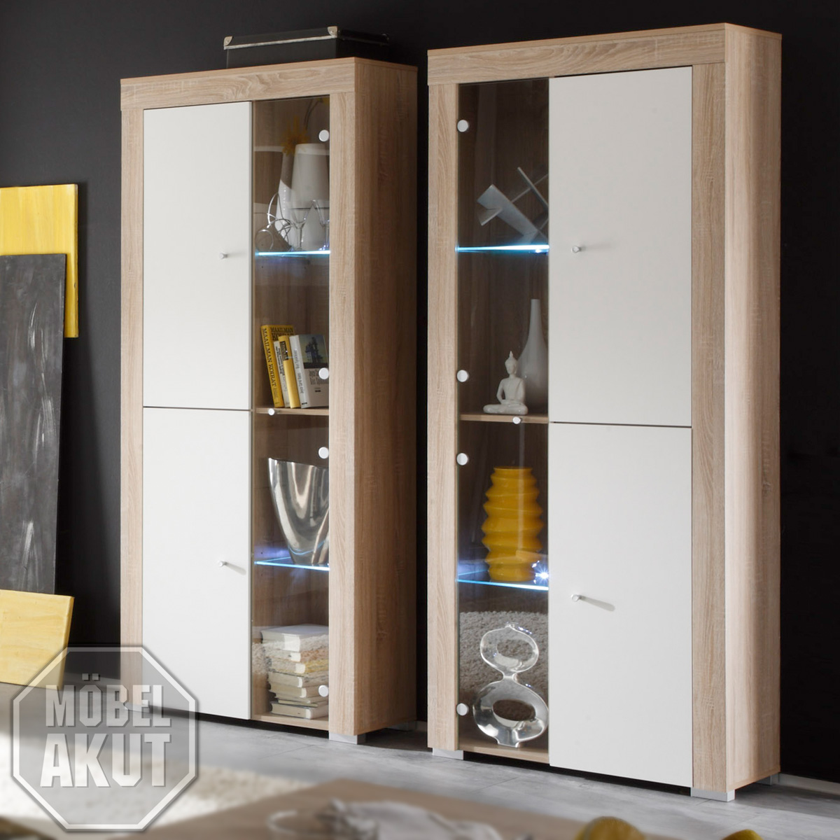 vitrine cosmic schrank in wei sonoma eiche neu ebay. Black Bedroom Furniture Sets. Home Design Ideas