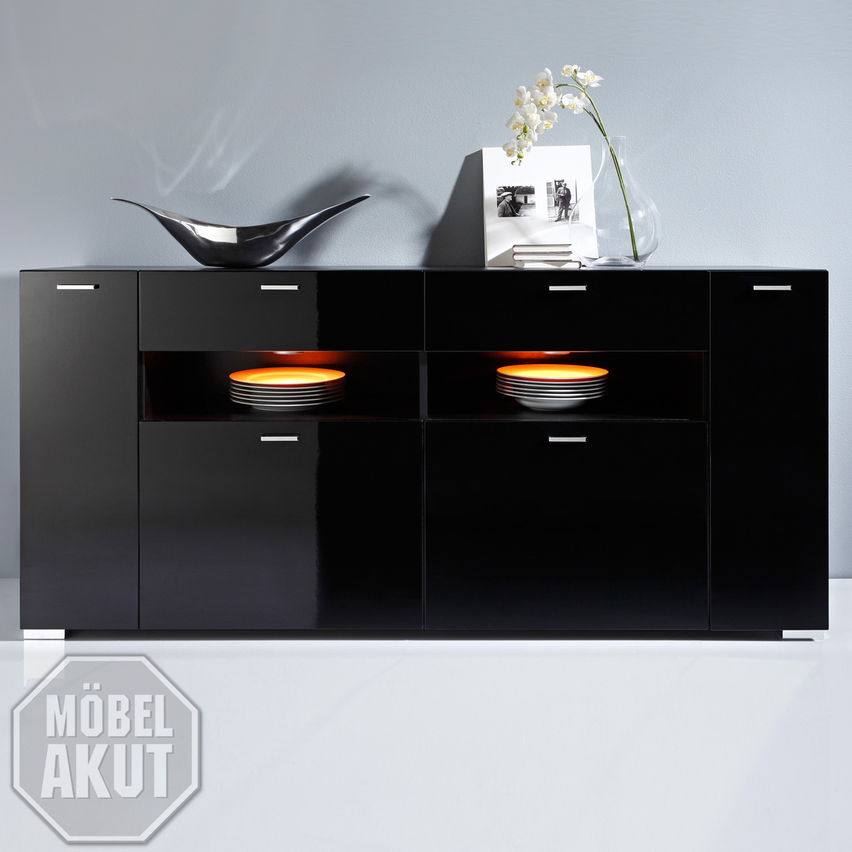 sideboard iron kommode highboard in schwarz schwarz hochglanz neu ebay. Black Bedroom Furniture Sets. Home Design Ideas